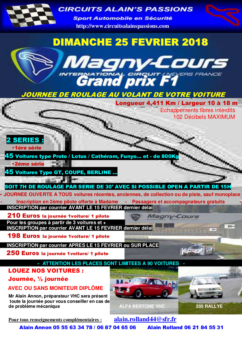 FLYER MAGNY COURS Grand Prix F1 DIMANCHE 25 FEVRIER 2018
