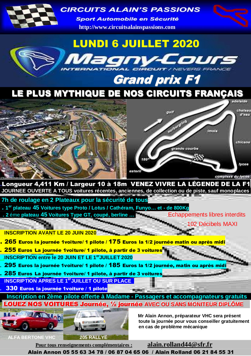 FLYER MAGNY COURS Grand Prix F1 LUNDI 6 JUILLET 2020