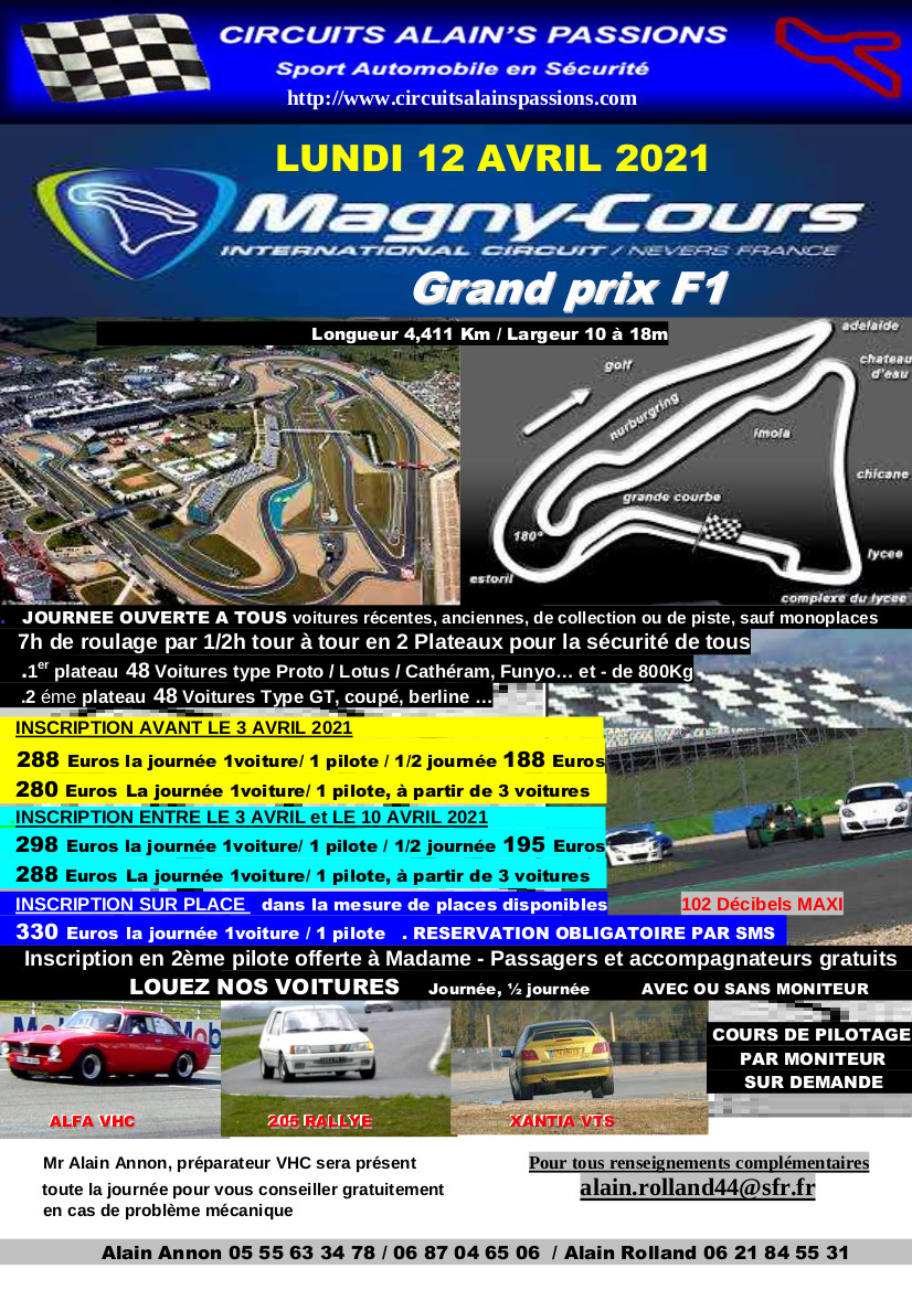 FLYER MAGNY COURS Grand Prix F1 LUNDI 12 AVRIL 2021